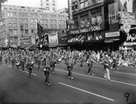 Blaine High School marching band in 1955 P.N.E. Opening Day Parade