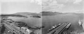 Vancouver looking north from Marine Building, Burrard and Hastings Streets, 1936, panorama of thr...