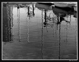Reflections of masts in the water