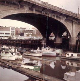 Boats under Georgia Street Viaduct