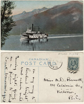 "C.P.R. line - S.S. ""Kootenay."" Arrow Lake, B.C."