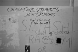 Anti-Chinese racist graffiti at University of British Columbia Main Library washroom
