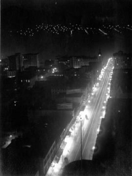 [View of Granville Street at night]
