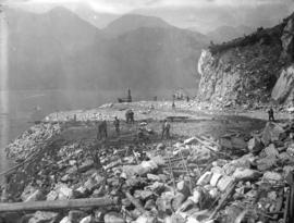 [Men working on partially cleared site of the Buntzen Lake Power Plant number two]