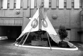 Teepee with booth selling jewelery inside
