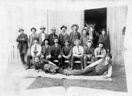 [Employees of B.C. Transfer Company in front of the blacksmith shop at the foot of Carrall Street]