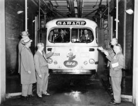 [B.C. Electric bus No. 2268 in an automatic bus-washing facility]