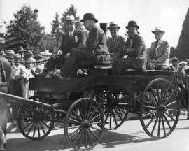 [A group of men in a wagon for the re-dedication of Stanley Park]