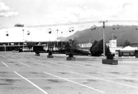 View of Agrodome, Livestock building, and Sky Glider chair lift on P.N.E. grounds