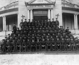 29th Battalion G Company [(Vancouver), C.E.F. on the steps of Industrial Hall]