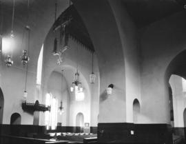 [Arched ceiling, chandeliers], St. James' Church [303 East Cordova Street]