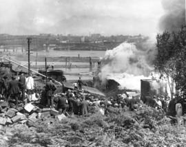 [Crowds view fire at the Alberta Lumber Company Mill]