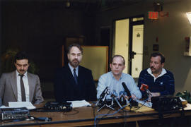 Dennis Dahl, Lawyer [and] John Dixon, BCCLA [British Columbia Civil Liberties [at press conference]