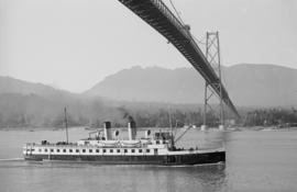"[Union Steamship ""Lady Cynthia"" passing under the Lions Gate Bridge]"