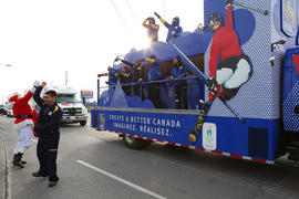 Day 56 RBC Activation Vehicle passes Santa Clause in Ontario.