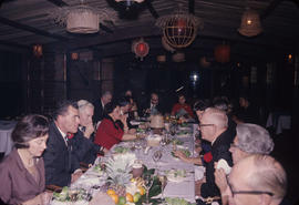 Inauguration dinner [at Trader Vic's], south end of table, Bell-Irving and Gould