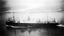 A cargo ship in First Narrows