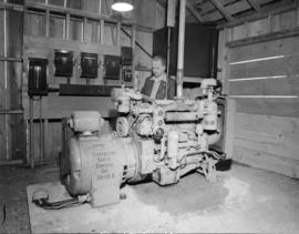 [A Caterpilar Diesel Electric engine at] Sandspit [on the] Queen Charlotte Islands