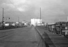[View looking north along the Granville Bridge towards the Continental Hotel]