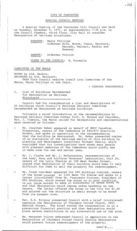 Special Council Meeting Minutes : Nov. 9, 1976