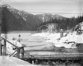[Coquitlam dam site covered in snow and ice]