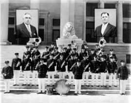 Fireman's' Band of Vancouver on court house steps.