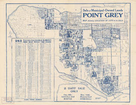 Sale of municipal lands : Point Grey : map showing location of lots to be sold