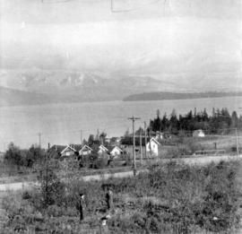 [View across English Bay towards Stanley Park and the North Shore]