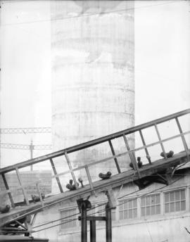 [Section of coal conveyor, concrete stack, and gas holder structure of the Vancouver Steam Plant]