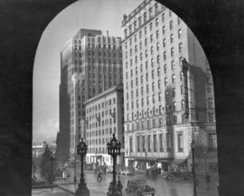 [View of the north side of the 900 block Georgia Street from the driveway of the old Hotel Vancou...