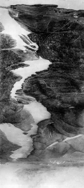 [Photograph of drawing of Stave Lake]