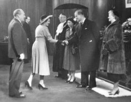 [Alderman and Mrs. H.D. Wilson greet H.R.H. Princess Elizabeth and H.R.H. Philip Duke of Edinburgh]