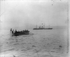 "[Sailors rowing to shore from the H.M.S. ""Amphion"" in Vancouver harbour]"