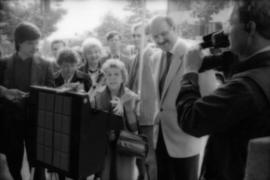 Theresa Galloway, Mike Harcourt and group at drinking fountain inauguration