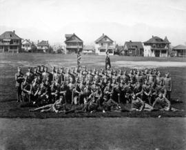 Group of high school army cadets and officers on Vancouver High School grounds (Cambie and 12th A...