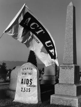 Act Up flag in cemetery