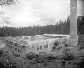 [Rear view of Brentwood Bay Steam Plant building]