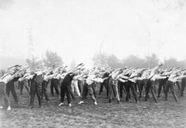 [A business men's (civilian) battalion exercise at Brockton Point Grounds]