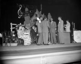 [Nabob's 'Harmony House' musicians and singers on stage at the Orpheum]