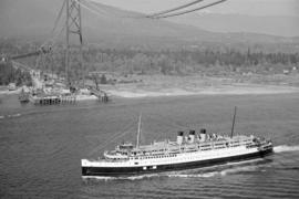 "[A C.P.R. ""Princess"" vessel under the Lions Gate Bridge under construction]"