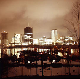 British Columbia - Vancouver skyline : from Kitsilano apartment building looking down onto view o...