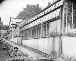 "Exterior of greenhouse at ""Hycroft"""