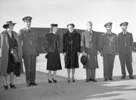 Duke and Duchess of Windsor [with] group inspecting air training graduating class