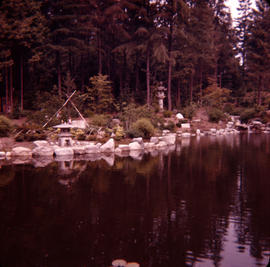 [A Japanese garden beside a pond in Stanley Park]