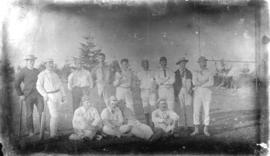 [Group of cricket players, including Charles Nelson and Al Larwill, at the Brockton Point athleti...