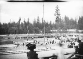 [View of circus activities from grandstand, Hastings Park]