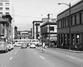 [View of Pender Street and Seymour Streets intersection, looking north at C.P.R. station]