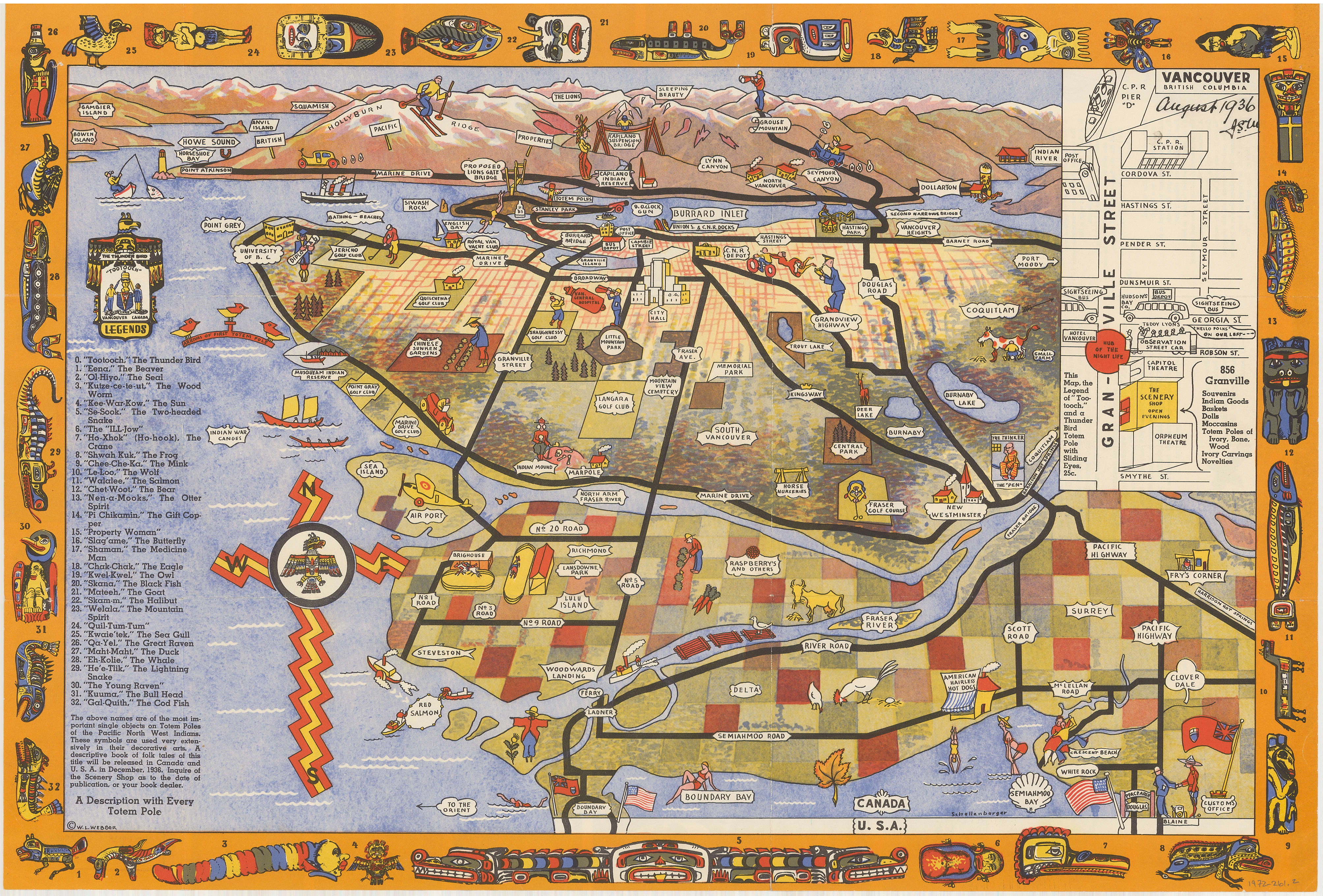 Tourist Map Of Greater Vancouver City Of Vancouver Archives