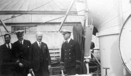"Lt. Cunningham O.C., Mayor L.D. Taylor, [and] Lt. V. Metcalfe [on the] U.S.S. ""Eagle 57"""