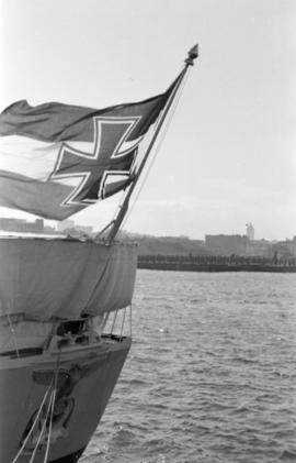 Flag [flying from] stern of German warship